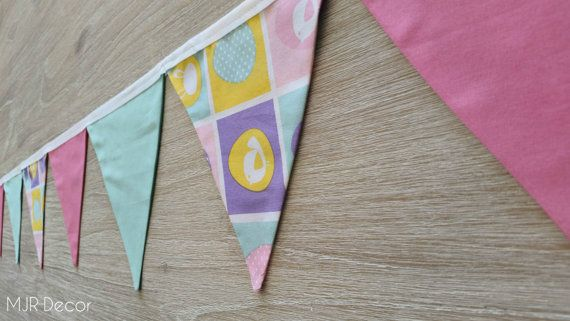 Easter Bunting double sided fabric pennant flags by MJRDecor