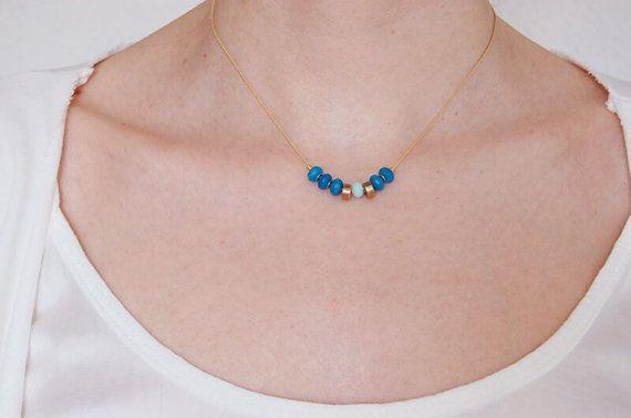 Collar ágata azul Minimal swarovski. Collar por CuentaseHistorias
