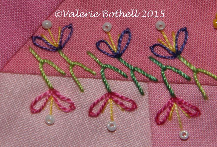 Crazy Quilt Stitch #122, Y Stitch + Lazy Daisies + Straight Stitches + Beads ©Valerie Bothell 2015
