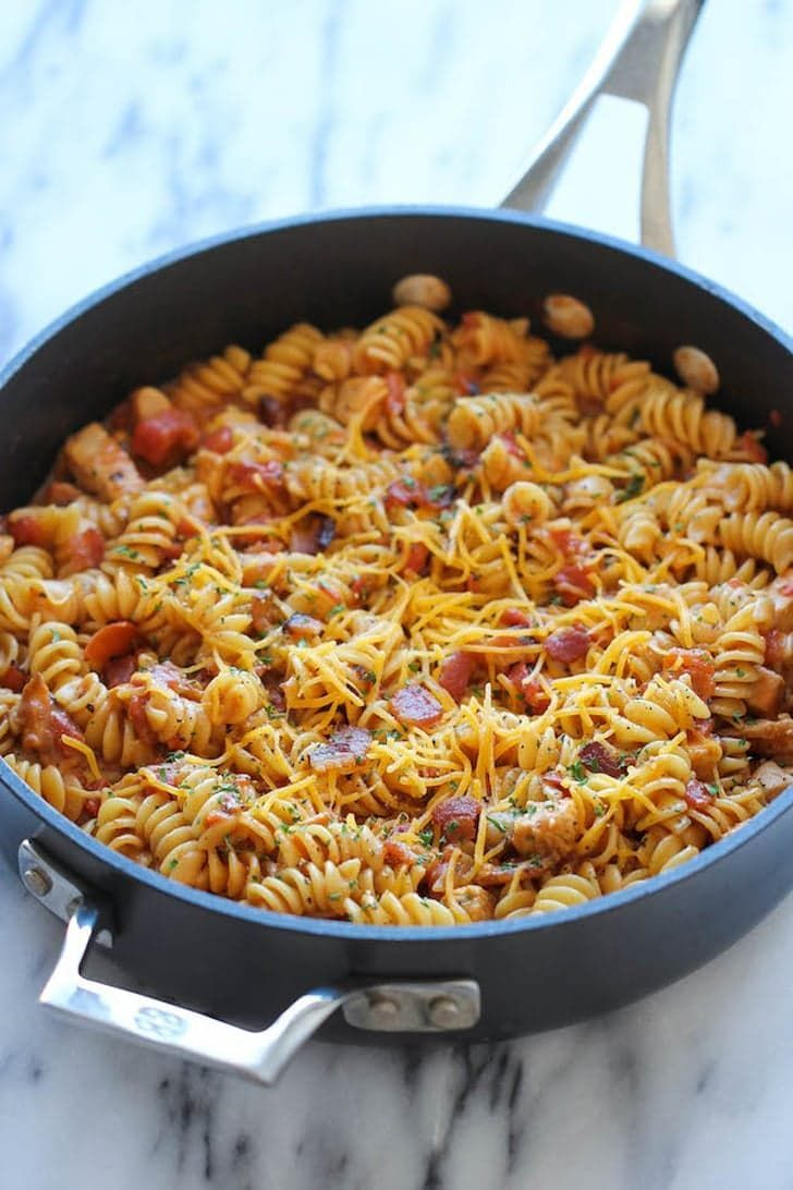 Pin for Later: 20  Ways to Use Chicken Leftovers Barbecue Chicken Pasta Get the recipe: barbecue chicken pasta