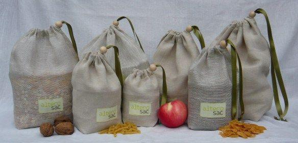 Tutoriel pour coudre vos propres sacs à vrac, un autre pour réaliser un kit complet et enfin un dernier pour transfomer un T-shirt usé en filet à légumes !