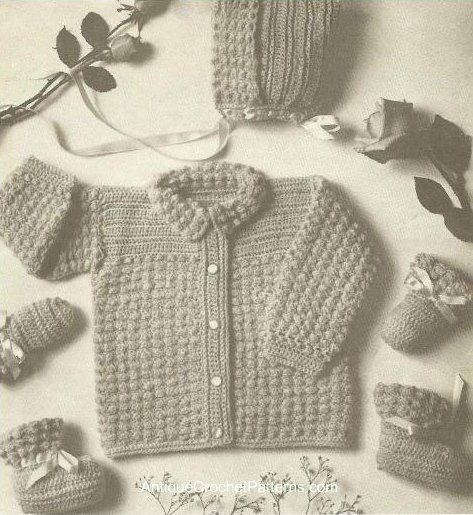 Crocheted Baby Set, Jacket, Cap, Mittens, and Booties, Free Crochet Pattern