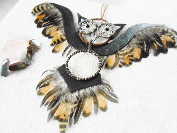 Large wall dreamcatcher owl by JewelryByPlk on Etsy