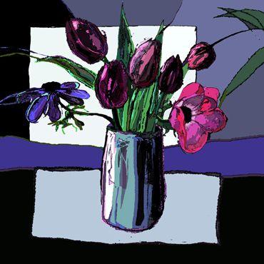 Tulips, Anemones, Kathy Lewis. Digital art. iPad painting, flowers