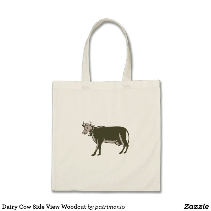 Dairy Cow Side View Woodcut Tote Bag. Tote bag designed with an illustration of a dairy cow viewed from the side set on isolated white background done in retro woodcut style. #totebag #cow #dairy