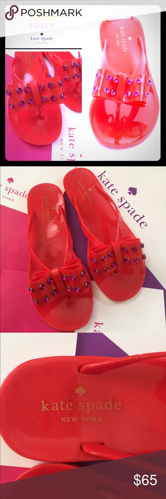 SALE♠️Kate Spade Fancy Jelly Flip Flops❤️ ♠️Kate Spade New York ♠️A rhinestone-studded bow accents these Kate Spade New York flip flops, these are so cute & fun❤️ // Rubber sole // Brand New without tags // Never worn // No Box // BUNDLE & SAVE  kate spade Shoes Sandals