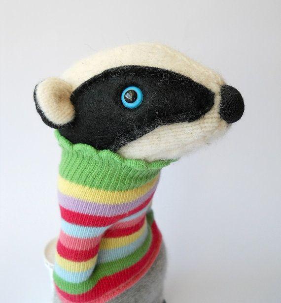 Felt plush badger wearing upcycled jumper!