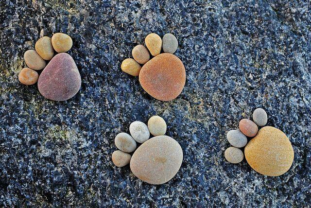 Footprints a footrocks a walk
