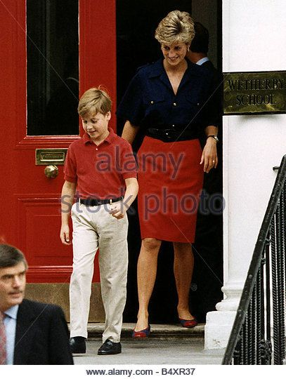 Princess Diana with Prince William leaving Wetherby School - Stock Image