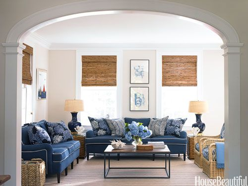 Blue family room. Design: Lynn Morgan. housebeautiful.com. #blue #family_room