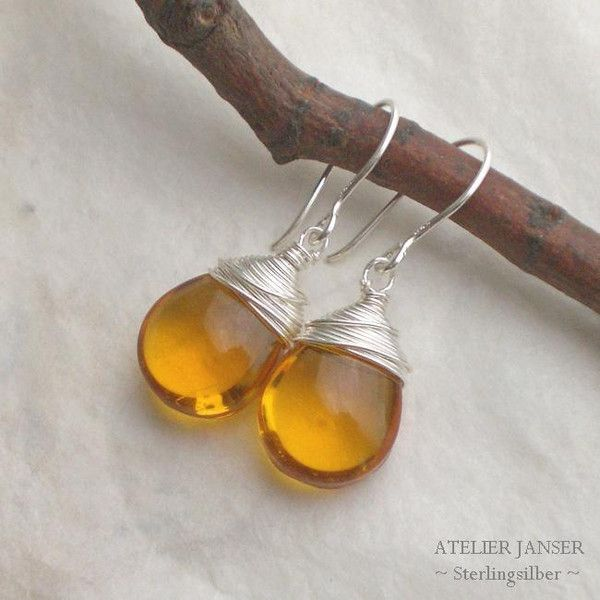 Silber Ohrringe - 925 Silber. Ohrringe Tropfen Glas Amber f526 - ein Designerstück von Silberzeit bei DaWanda