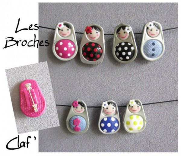 Soda Can Pop Tabs + Polymer Clay = Little Dolls Jewelry Jewelry                                                                                                                                                                                 More