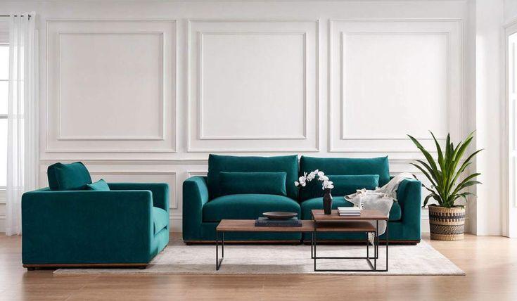 living room furniture 2021 velvet blue green couch   Popular living room furniture, Modern ...