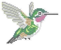 Image result for colibri bordado en punto de cruz