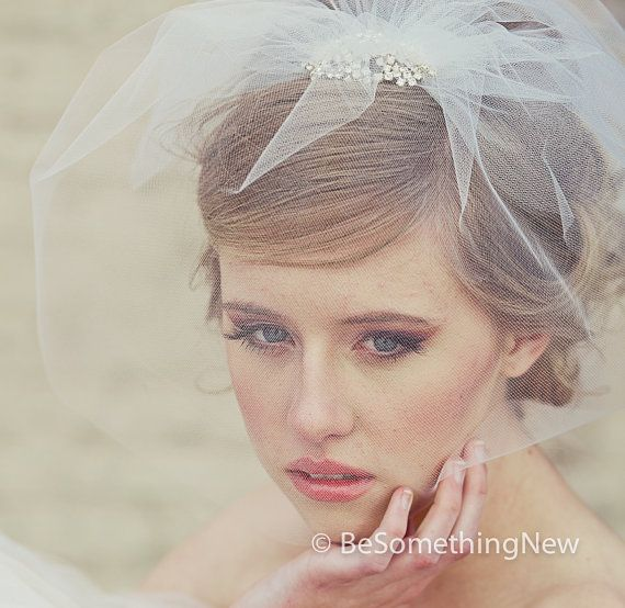 Tulle Birdcage Veil with Flower Rhinestone Comb by BeSomethingNew