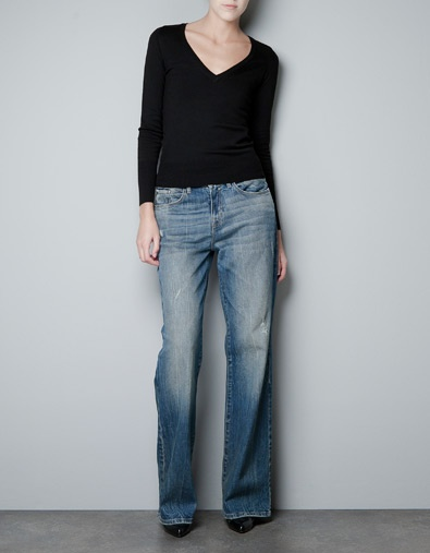 Zara AW12/13A Mini-Saia Jeans,  Blue Jeans, Fashion Style, Wholesale Jeans,  Denim, V Neck Sweaters, Vneck Sweaters, Silver Jewelry, Basic Vneck