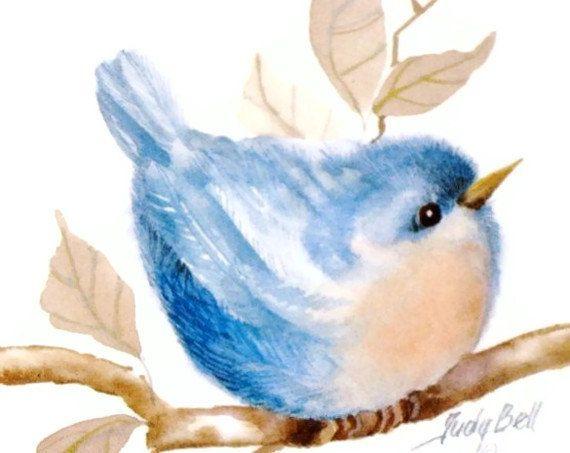 Nursery Blue Bird Art Print - Whimsical Bird Watercolor Painting