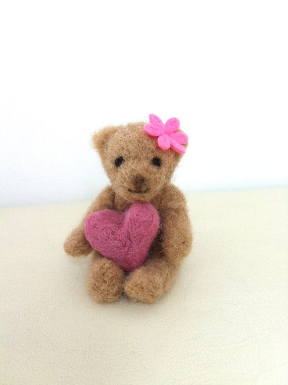 needle felting kits | DIY Kit Needle Felted Teddy Bear with heart. Made with love. Perfect ...