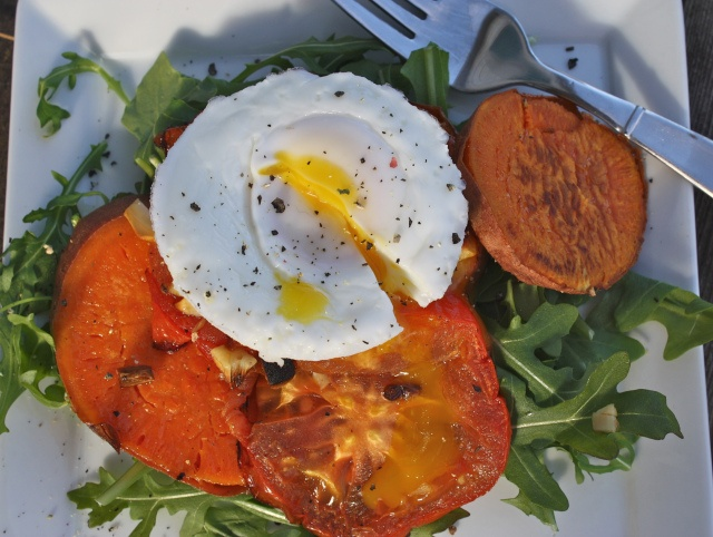 Roasted Garlic Sweet Potatoes and Tomatoes with Poached Egg