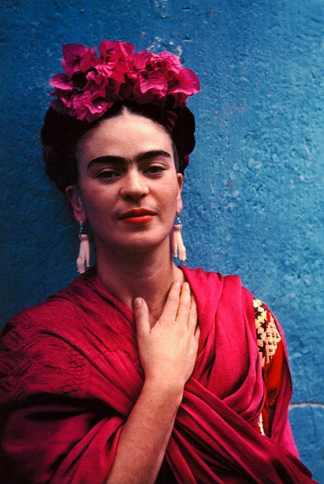 Friha Khalo Wearing The Hand Earrings Pablo Picasso gave her in 1939