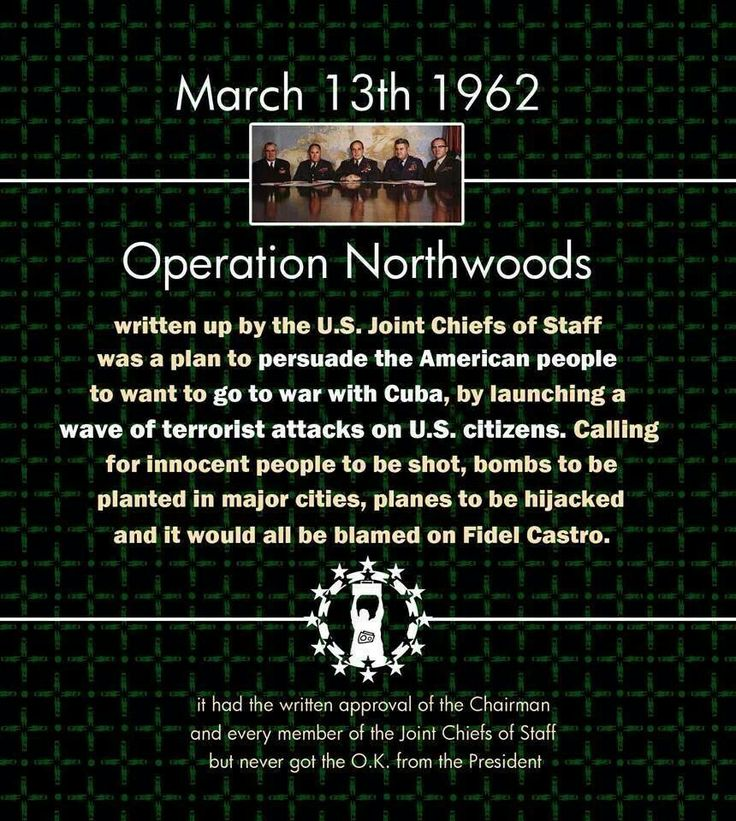 The US has the #1 military and intelligence in the world. Just in case you think 9/11 was carried out by cavemen: Operation Northwoods
