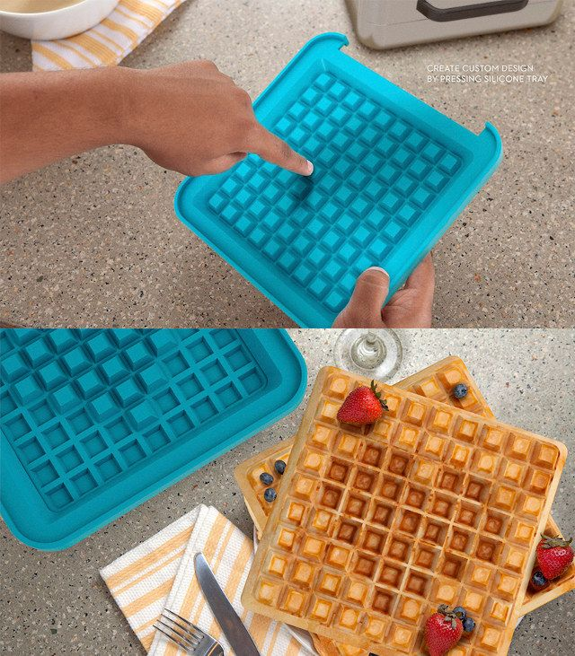 "Image via How clever is this? A Pixel Waffle Maker that allows you to create your own designs, letters and messages on your waffles by pushing down individual ""pixels"". Great for personalizing breakfasts and desserts, its a throw back to the 8-bit graphics of the past. The waffle maker features an easy-to-clean 9 x 9 …"
