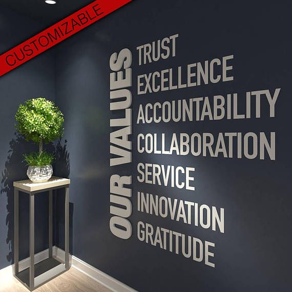 Our Values, Office, Wall, Art, Decor, 3D, PVC, Typography, Inspirational, Motivational, Work, Sucess, Decals, Stickers Apply this Our Values 3D Office Wall Art in any flat surface (walls, windows, etc). If you are looking for a piece of art in you office walls Think Big 3D Office