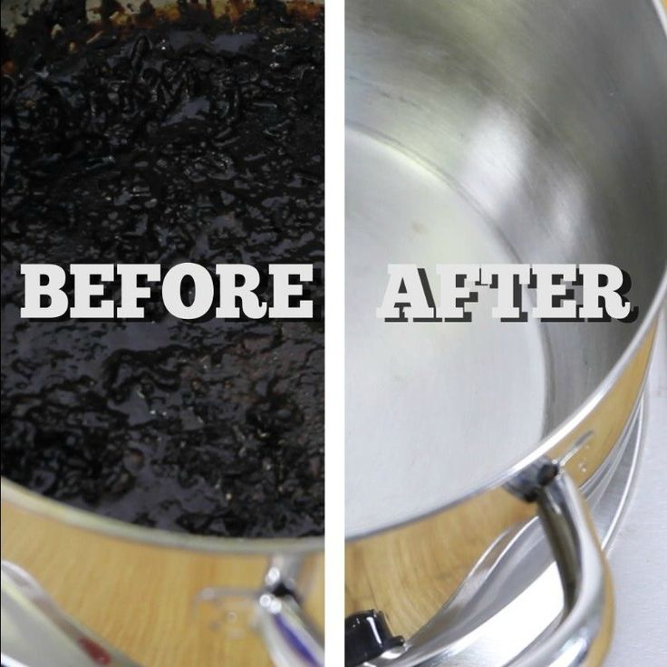 Clean a Burnt Pot or Pan: Cut up 2 enough lemons to cover the bottom of the pan. Add enough water to cover bottom. Bring to a boil. Dump out dirty water and lemons, wipe away grime. Rinse. (Could try vinegar, too.)