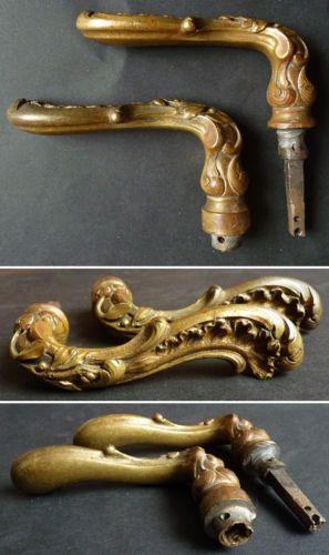 2 Poignees De Porte En Bronze Dore Louis