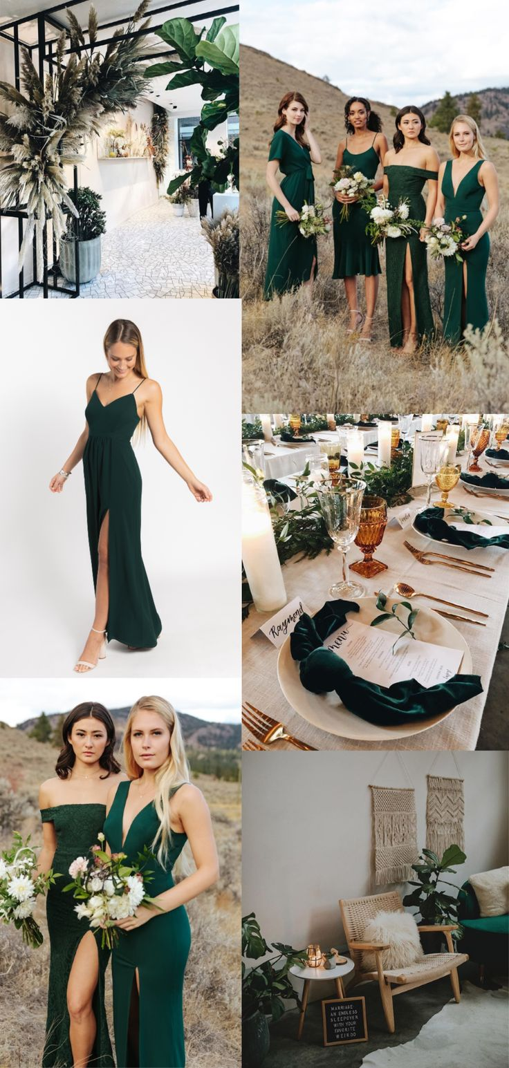 Hunter Green Bridesmaid Dresses by Park & Fifth