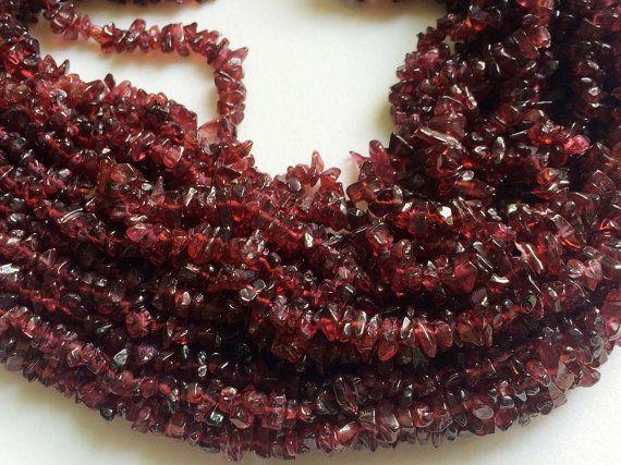 WHOLESALE 5 Strands Garnet Chips Garnet Beads by gemsforjewels