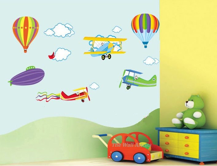 Planes and Hot Air Balloon Art Decal Nursery Boys Room Wall Stickers Transparent