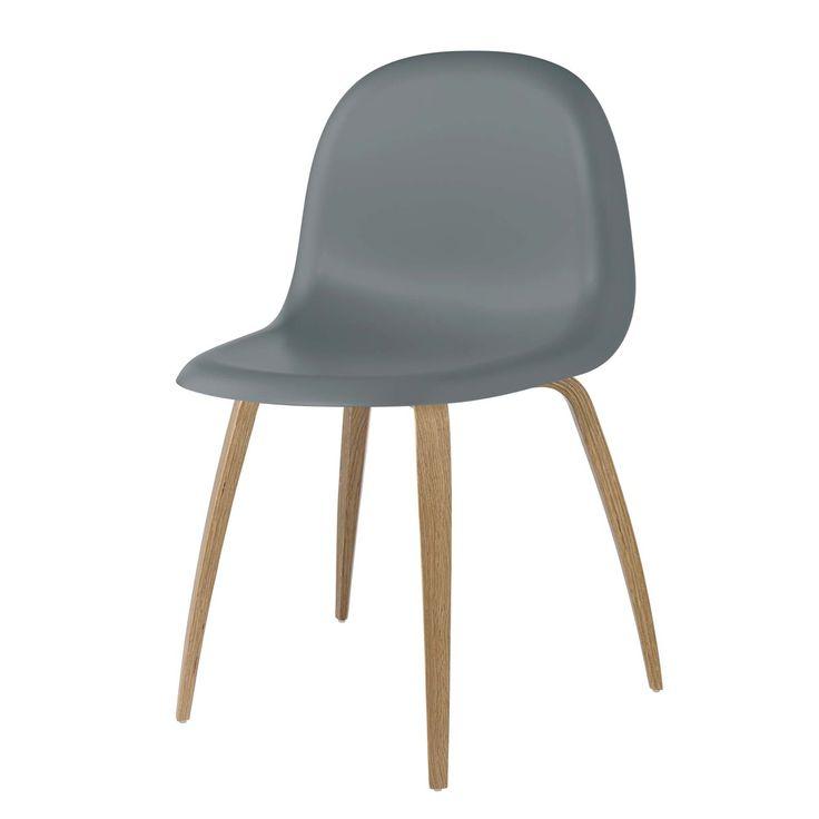 Gubi - 3D Dining Chair, HiRek / Wood Base, Eiche / rainy grey Grau T:53 H:82 B:52