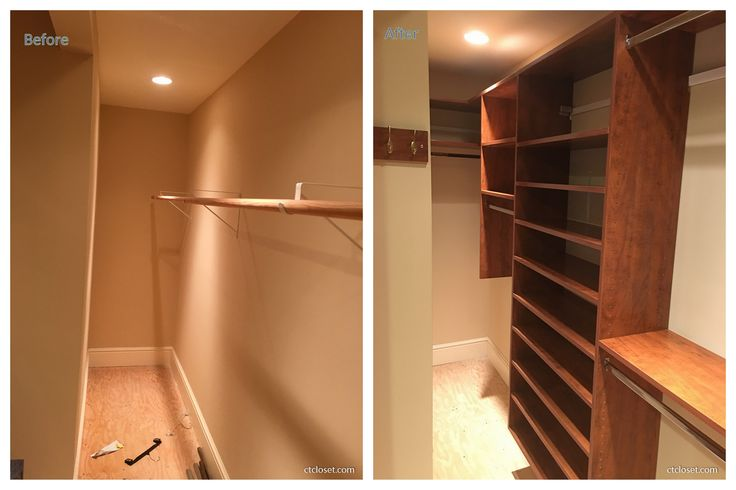 Very narrow and long closet update in Summerflame with lots of space for hanging clothes, shoes and general shelves.