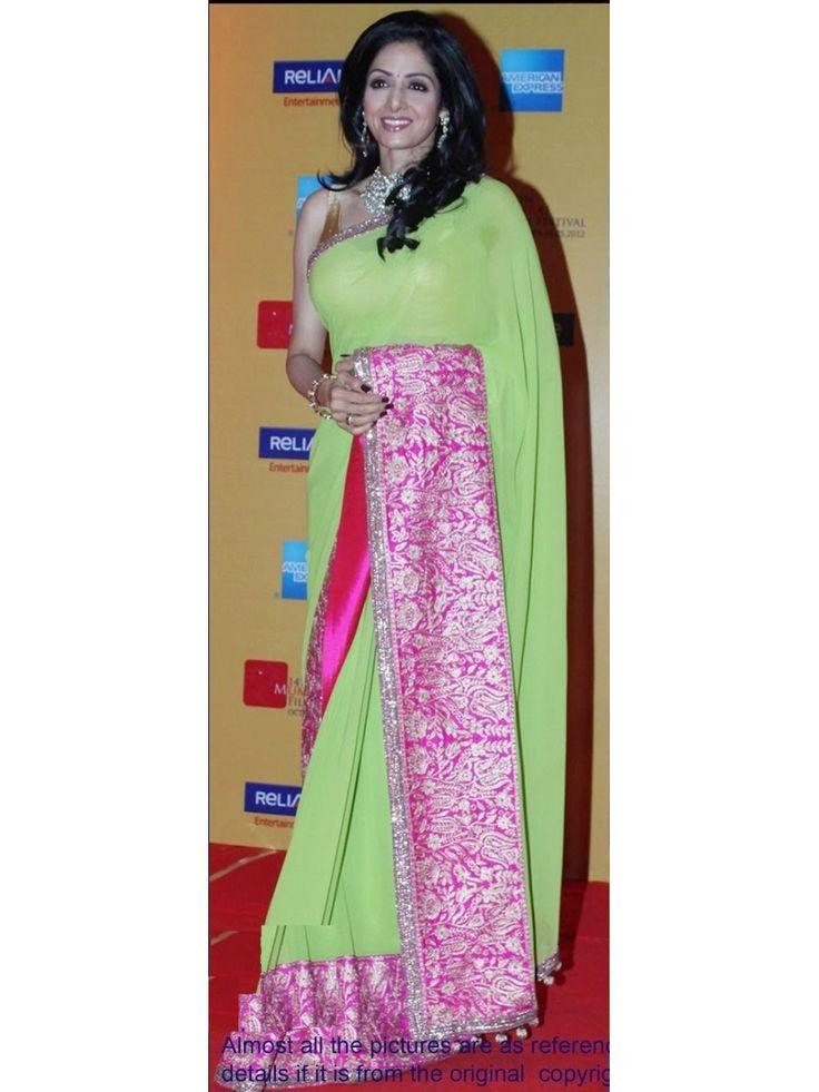 Sridevi Heavy Green Bollywood Replica Designer Saree