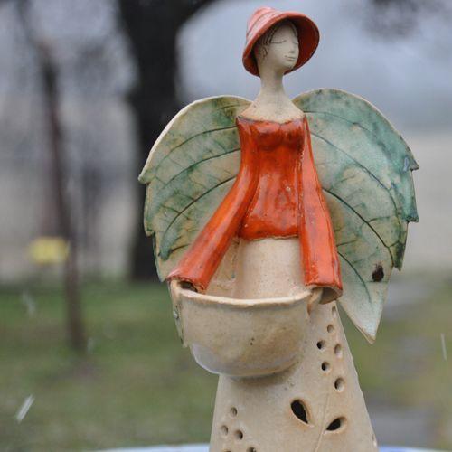 anioł lampion Dekoracja Wnętrz Ceramika JOANNA PIOTROWSKA: