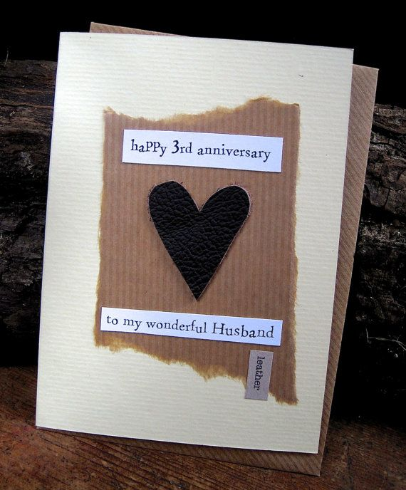 Third Wedding Ideas: 3rd Wedding Anniversary Card LEATHER Husband Traditional