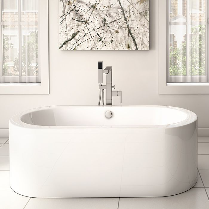 Oval freestanding bathtub by Alcove for graceful white bathroom / Wisteria Collection