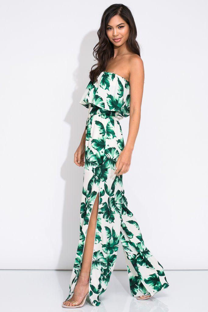 be38dbaf971b Shop Jess Lea Boutique Tropical Palm Leaves Print Strapless Ruffle Jumpsuit   jesslea  jessleaboutiqe