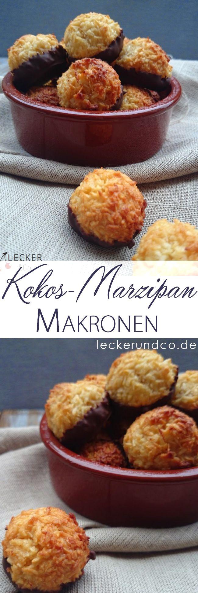 Kokos Makronen mit Marzipan