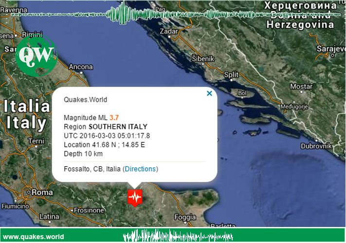 #Earthquake #Terremoto #Italy An earthquake was recorded in Southern Italy - Campobasso zone / region