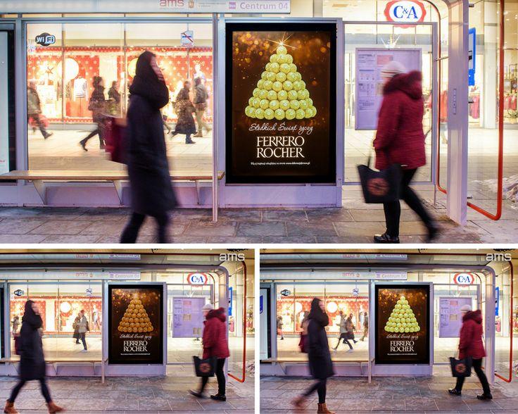 Świecące praliny Ferrero Rocher na przystankach AMS (Ferrero Rocher, grudzień 2016)