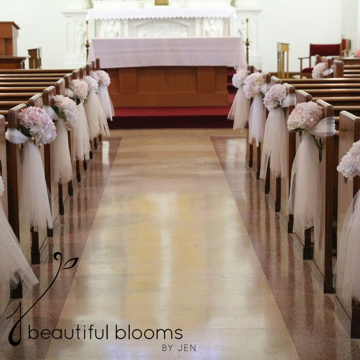 Wedding Aisle Music Ideas: Tulle And Blush Hydrangea Pew Decorations By Beautiful