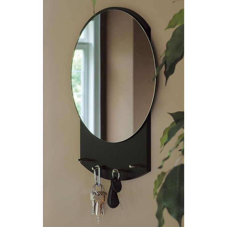 nexxt annex wall mirror with key holder 12 x15 5 h black