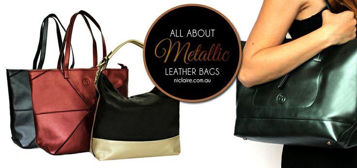 NEW Metallic Leather Handbags - shop online now at niclaire.com.au - #niclaire #fashion #leatherhandbag #handbag #metaliicleather #totebag #shoulderbag #fashion
