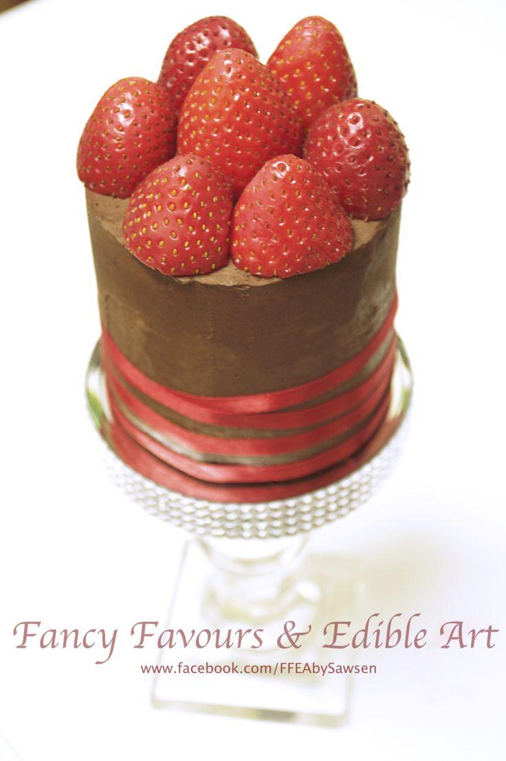 Strawberry & chocolate Valentines mini  cake | Fancy Favours & Edible Art -- #Valentines #chocolate #strawberry #mini #red #ribbon #elegant #cake #occasion  #customcake #wedding #weddingcake
