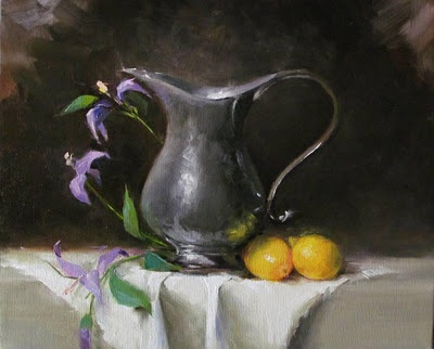 pewter pitcher and lemons