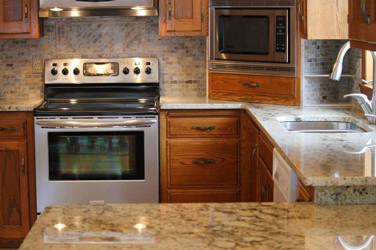 Kitchen Remodel Sienna Beige Granite Counter Tops With