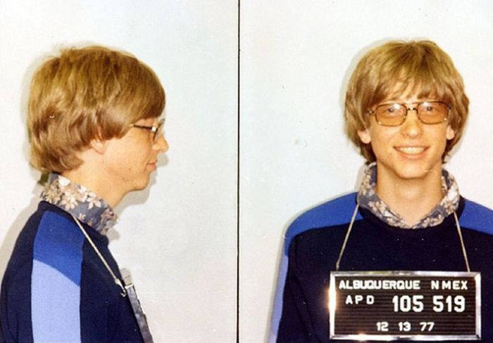 Bill Gates Mugshot A cheery picture, as far as mug shots go, but perhaps that is because the young Bill Gates already had the cash to post his own bail