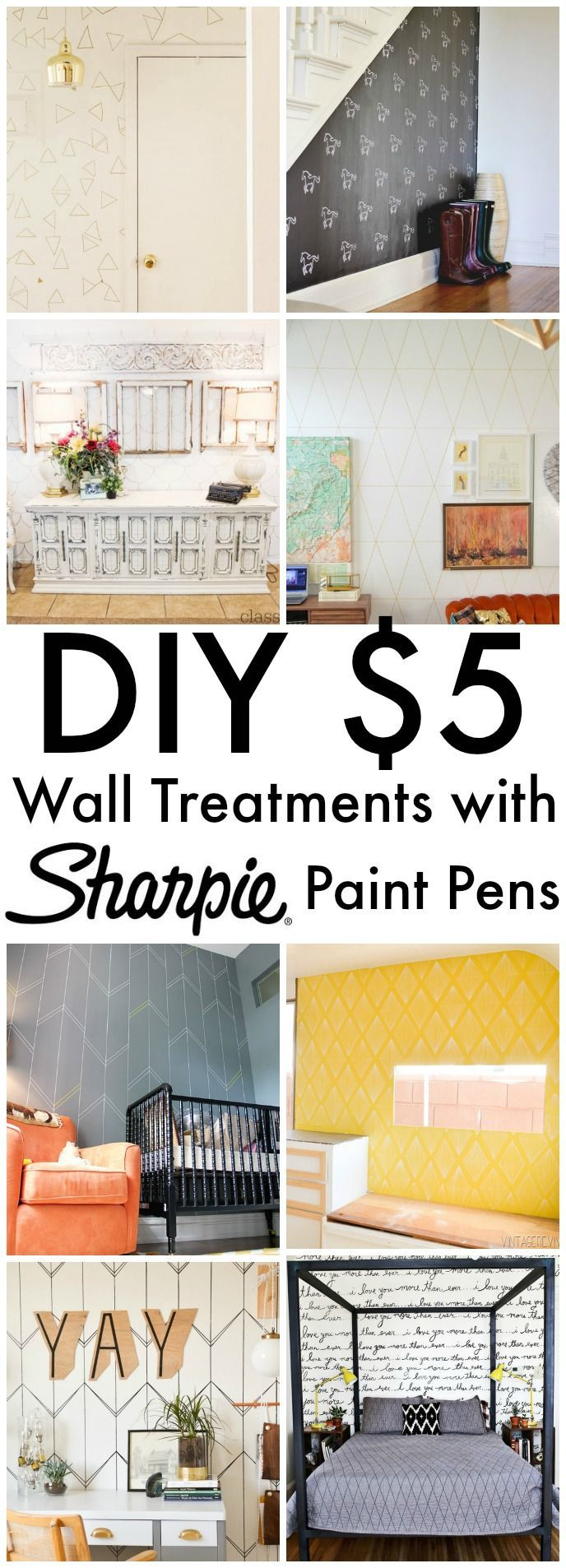 $5 Wall Treatments with Sharpie Paint Pens - This is an inexpensive way to spruce up your space. With 1-2 Paint Pens, you can totally transform any wall or any surface for that matter! Love this! Click for ideas - www.classyclutter.net